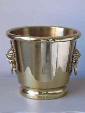 Vintage Brass Champagne Ice Bucket or Planter Pot w/ Lion Head Ring Handles 11""