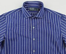 Men's POLO RALPH LAUREN Blue White Striped Shirt Medium M NWT NEW Spread Collar