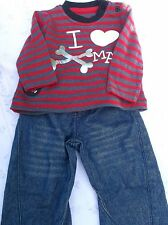 BRAND NEW NEWBORN TWO PIECE SET TOP AND TROUSERS I LOVE XMAS  3-6 MONTHS