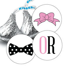 108 GENDER REVEAL BABY SHOWER HERSHEY KISS CANDY STICKERS - Bow or Bowtie