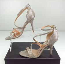 Badgley Mischka Landmark Platino Diamond Fabric Bridal Heels Strappy Sandals 8.5