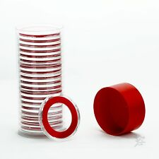 1 Capsule Tube & 20 32mm Velour Red Ring Air-Tite Coin Capsule Holders