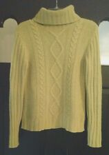 Banana Republic Size L Cable Knit Lambswool Angora Lime Green Turtleneck Sweater