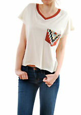 WildFox Brand New Women's Pocket Bun Romeo V-Neck Tee Size S Short Sleeve BNWT