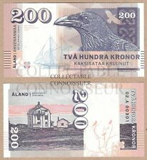 Finland - Aland Islands 200 Kronor 2016 UNC SPECIMEN Test Note Banknote - Raven