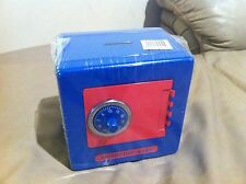 New Style Metal Safe Box Piggy Bank Combination Lock & Coin Slot-Blue red