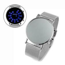 LED Round Mirror Blue Circles MAN Watches Stylish band Stainless Steel Watch WT