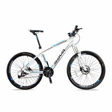 SAVA Carbon Fiber Bicycle 26 in MTB Mountain Bike -Madrid 27 Speed White Blue