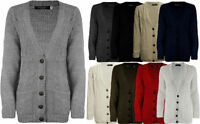 NEW WOMENS LADIES CHUNKY CABLE KNITTED GRANDAD LONG SLEEVE KNITTED CARDIGAN