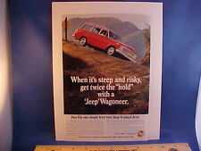 very nice vintage original 1967 Jeep Wagoneer 4-WD full-color ad w/backer board