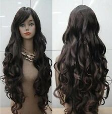 Fashion Women's Heat Resistant Long Dark Brown Curly Cosplay Hair Full Wig Wigs