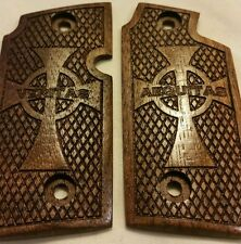 Walnut Wood Grips with Celtic Cross Veritas & Aequitas - Will fit Sig Sauer P238