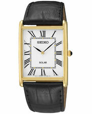 Mens Seiko Solar Square Black Leather Roman White Dial Casual Dress Watch SUP880