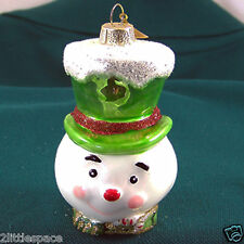 """Snowman Glass Christmas Ornament Green Top Hat Glitter Colorful Painted Cute 4"""""""