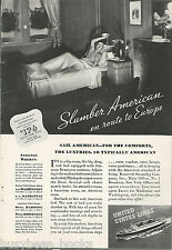 1935 UNITED STATES LINE advertisement, onboard Stateroom, lady in bed