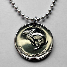 1967 Canada 5 cent coin pendant Canadian cute Rabbit Bunny necklace hare n000713