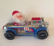 Vintage 70s Santa Claus Bump and Go Tin Toy Car Music Lights Champion Tested