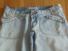 LADIES BENCH BLEACH WASH JEANS  STUDS DETAIL SIZE 26  L30