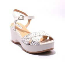 Donna Piu 52495 White & Silver Woven Leather Platform Wedge Sandals 40 / US 10