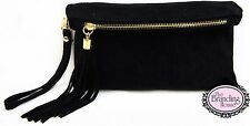 new ladies black suede tassel evening clutch bag with wrist & shoulder strap