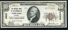 1929 $10 THE NB OF THE REPUBLIC OF CHICAGO, IL NATIONAL CURRENCY CH. #4605