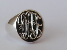 hallmarked sterling silver monogramed ring, heavy 14 grams, any size available