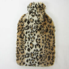 2 Litre Cosy Hot Water Bottle & Leopard Fur Cover Soft Animal Print Fur Cover