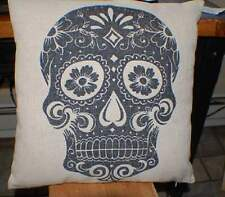 """Sugar Skull Pillow 17"""" of Linen with Navy-Very Cool!!"""