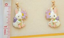 Easter Bunny w Flower Dangling Post Earrings / Gold-tone / White Spring Rabbit