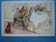 POSTCARD CHILDREN TEDDY'S CHAIR WATERCOLOUR