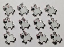 12 Enamel Sheep Lamb Barn Animals Kids Charms Jewelry DIY Earrings/Bracelet Q9