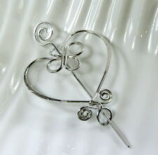 ALUMINUM, CELTIC INSPIRED HEART PIN~SHAWL~BROOCH~SCARF~ SWEATER~PIN