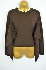 Designer ISCHIKO brown merino wool lagenlook cropped jumper, UK 36