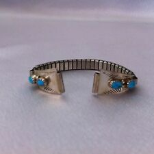 Old Dead Pawn Navajo Sleeping Beauty Turquoise Watch Band ~ Sterling Silver Tips