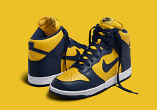 Nike Dunk Retro QS Michigan Wolverine SZ 8 Yellow Gold Navy Blue 850477-700