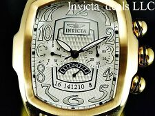 Invicta Mens Dragon Lupah ISA Quartz Gold Tone White Dial Leather Strap SS Watch