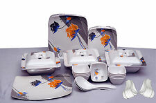 Geeta Diamond Sqaure 18 Pcs Melamine Dinner Set LE-GDS-002,Customized Packing