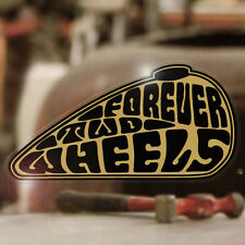 Forever Two Wheels Sticker Aufkleber Autocollante pegatina Bobber gold 90mm