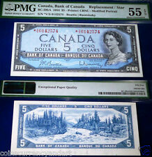 1954 BANK OF CANADA  *V/S REPLACEMENT / STAR  $5  PMG CERTIFIED 55 EPQ