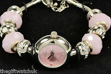 Henley Ladies Pink Bracelet Watch with Removable Crystal Beads Womens Gift Idea