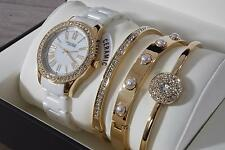 Anne Klein Womens Crystal White Ceramic Gold Watch & 3-Bracelet Set 12/2256GBST