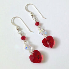 Sterling Silver Drop Earrings made w Swarovski Elements Siam Red Crystal Hearts