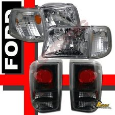 1993-1997 Ford Ranger XL XLT STX Chrome Headlights Corner & Tail Lights Black