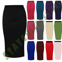 Women Ladies Bodycon Stretch High waisted Plain Pencil Office Midi Skirt UK 8-22