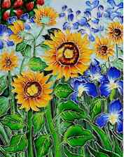 Van Gogh Sunflowers Irises Trivet Wall Accent Hand-Painted Ceramic Tiles Mural