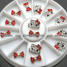 3D Nail Art Deco Hello Kitty & Bow Alloy Jewelry Glitter Rhinestone+Wheel #EB025