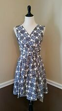 NWT Modcloth Dress 6 Closet London Ivory Blue Black Damask V-Neck Flare Retro