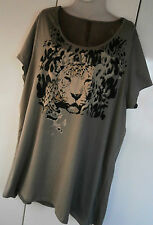 WOMENS ANIMAL PRINT T.SHIRT GREY LEOPARD PRINT TOP SIZE 26-28