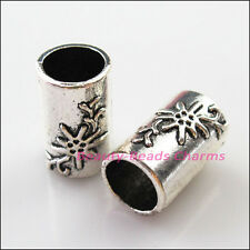 4Pcs Tibetan Silver Flower Tube Spacer Beads Charms Connectors 19.5mm