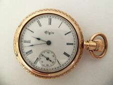 Elgin pocket watch/pendant (14k solid gold cut Hunter case with 5 diamonds) 1890